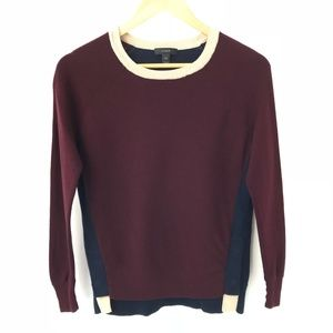 J Crew Colorblock Crewneck Sweater Side Snaps